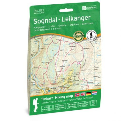 Wandelkaart 3041 Topo 3000 Sogndal - Leikanger | Nordeca